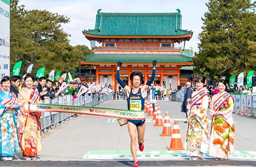 京都マラソン2019 フィニッシュ(平安神宮前)